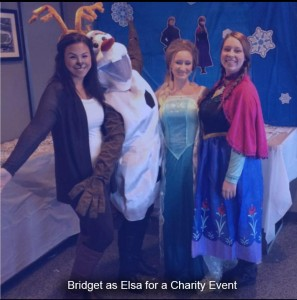 Bridget as Elsa at a Charity Event